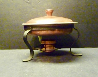 SALE -Copper Chafing Dish with stand by Globe Wares - California - 8 5/8""