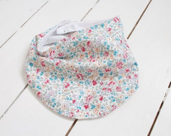 Cotton lined floral bandanna dribble bib