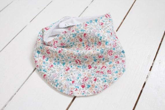 Cotton lined floral bandanna dribble bib