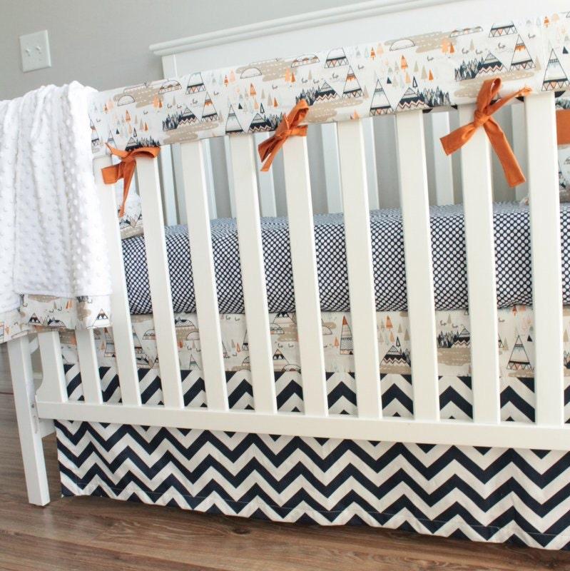 Indian Summer Woodland Teepee Oak Crib Set Navy Orange Bedding