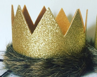 Where the Wild Things Are Glitter Gold and Mustard Medium Crown Headband, Max Crown, King Jungle Crown Hat, Lion Crown, First Birthday, G