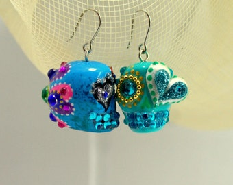 Skull new collection day of dead skulls turquoise earrings stone