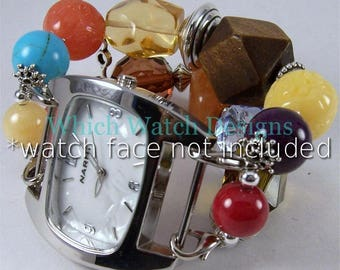 Fruitcake.. Chunky Multi Color Wood, Resin, Stone and Acrylic Interchangeable Beaded Watch Band