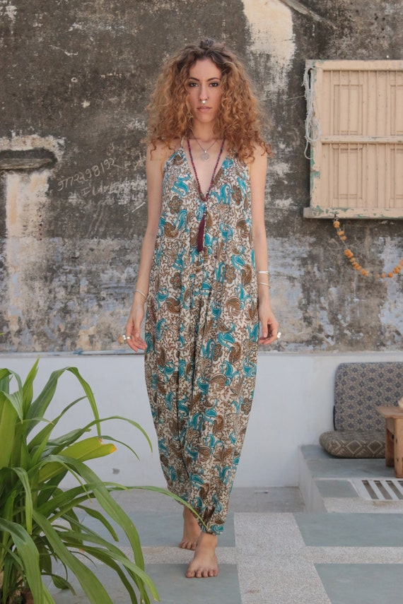 BLUE PAISLEY JUMPSUIT - Summer - Wedding - Festival - Handmade - Vintage Sari fabric - Festival - Hippie - Halterneck - Couture - Upcycled