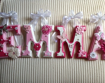 Custom Nursery Wooden Wall Letters - Pink, White and Red or Dark Pink - You Choose!