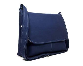 Solid Navy Blue Messenger Bag for Women, Medium Crossbody Purse, Fabric Cross Body Bag,  Fabric Purse, Everyday Bag, Medium Dark Blue Purse