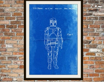 Star Wars Boba Fett Blueprint Art Star Wars Boba Fett Technical Drawing Engineering Drawings Patent Blue Print Art Item 0109