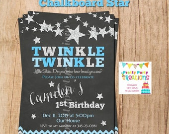 SILVER and BLUE CHALKBOARD Star invitation - Baby Shower or Birthday - You Print