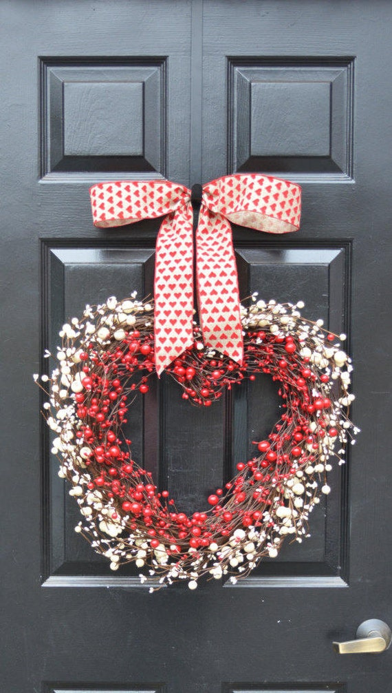 Valentine's Heart Wreath- Berry Wreath- Valentine's Decor- Wedding Gift- I love you Decorations- Valentines Day- Heart Shaped Decoration