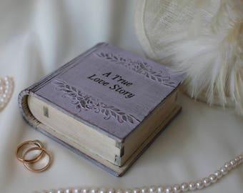 Engagement ring box Ring bearer book Proposal ring box Book ring box Ring pillow wedding Wooden ring box Personalized box Pink ring box