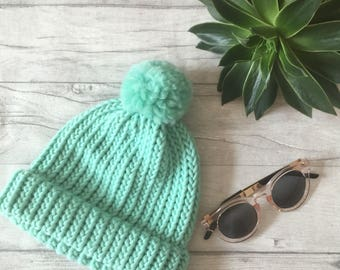 Mint green hat, mothers day gift, knit accessories knitted hat, mermaid hat, mint blue hat, knitted hat, adult knitted hat chemo headwear