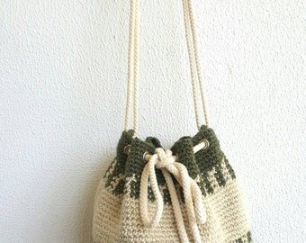 Weekender Bag, Drawstring bag, Bucket Bag, Rope Bag, Crochet Shoulder bag, Crochet Handbag,  Shopping Bag, Summer Beach Bag With Rope Straps