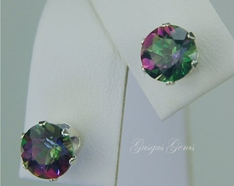 MothersDaySale Rainbow Mystic Topaz 7mm 3.40ctw Sterling Silver Studs