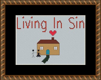 Living in sin defacto counted cross stitch pattern