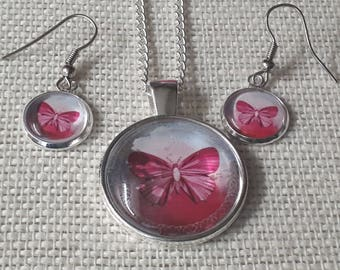 Pendant and Earrings Set Pink Butterfly on Silver Hooks, Tray and Chain