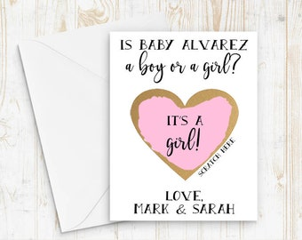 Set of 4 OR MORE Scratch Off Gender Reveal Personalized Baby Boy or Girl Cards - Pregnancy Announcement Gender Reveal with Metallic Envelope