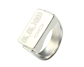 Unisex Silver Ring - For Him - For Her -Personalized Sterling Silver Ring
