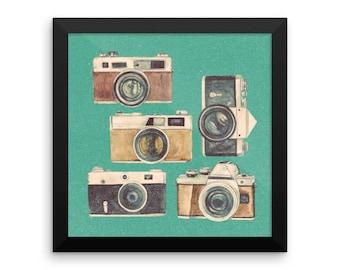 Retro Cameras Framed poster