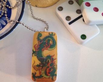 Domino Pendant/Necklace: Fiery Dragon