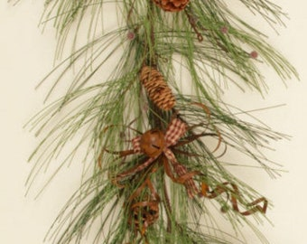 Christmas Pine Garland with Rusty Bows & Bells
