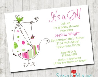 Its a Girl Bassinet Baby Shower Invite