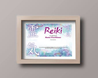 Reiki Master Practitioner A4 Certificate
