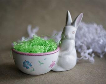 Vintage Fitz Floyd Easter Bunny Rabbit Figurine  Dated 1981 Original Label Spring Decoration Easter Decor Egg Cup Candy Holder