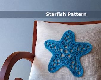 Starfish crochet pattern applique starfish crochet applique crochet throw pillow coastal crochet pattern crochet home decor crochet pattern