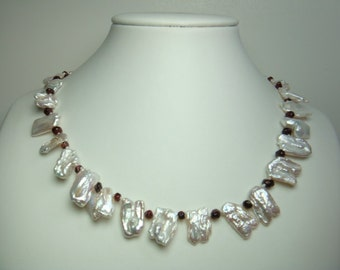 Pearl Necklace-AA 18 inches 11-18mm White Keshi Freshwater Pearl Necklce- Free matching earring