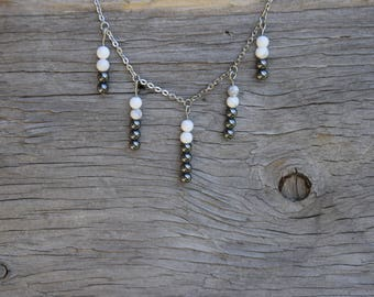 Hematite and Howlite collection Athena, stainless steel chain necklace