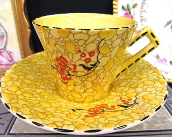 ROYAL WINTON tea cup and saucer chintz pattern floral painted teacup