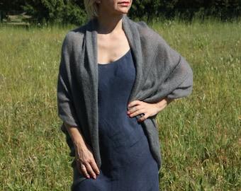Scandinavian cardigan, handmade wool cardigan, wool shrug for women, gray shrugs women, oversized wool shrug, womans grey shrug oversized