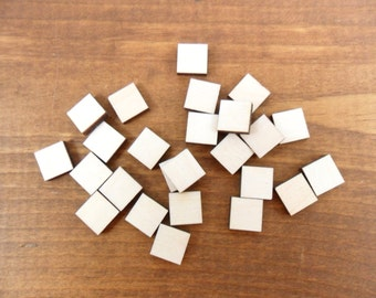 "Stud Earring Wood Squares Blanks Shapes 1/2"" (12mm) x 1/8"" (3.175mm) Thick Wood Jewelry Shapes - 25 Pieces"