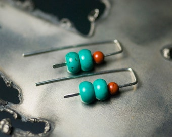 "Green Turquoise Earrings, Modern Beaded Sterling Silver, Red River Jasper, Hammered, Contemporary, Linear, December Birthstone - ""River Run"""