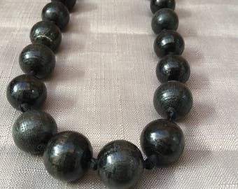 Vintage Black Medium Wooden Beaded Ribbon Necklace