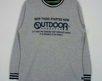 Rare!! OUT DOOR Product sweatshirt spell out pull over jumper crew neck grey colour large size