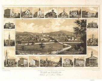 York Pennsylvania -1852 - Birds Eye View Reprint