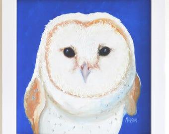 Owl painting, FRAMED nursery art, Barn Owl, kids wall art, kids room decor, animal art, owl art, owl decor, Etsy art, Jan Matson