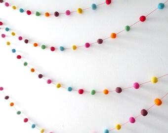 Wool felt ball garland, Rainbow, pom pom, circus, nursery decor, colorful, nursery bunting, birthday party decorations, carnival, photo prop