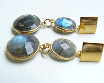 Studs Earrings with Labradorite