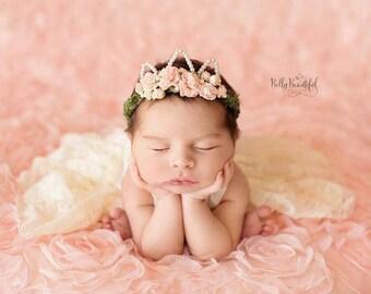 Mini Ingrid Newborn Floral Crown •Newborn Pink Crown • Princess Floral Crown • Flower Girl Crown •Newborn Photo Prop | Ready to Ship