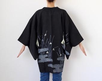 black shibori haori, kimono, tie dye kimono, silk kimono, kimono cardigan /3448