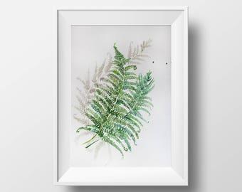 Watercolor PRINT, minimalism watercolor, Fern watercolor, watercolor art, Kitchen decor, watercolor green, garden gift, gift for her OOAK