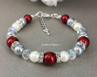Christmas Jewelry Idea Red Bracelet Grey Bracelet Pearl Bracelet Wedding Jewelry Valentines Day Gift for Bridesmaid Jewelry Bridal Party