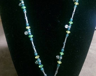 Blue and Yellow Teardrop Necklace