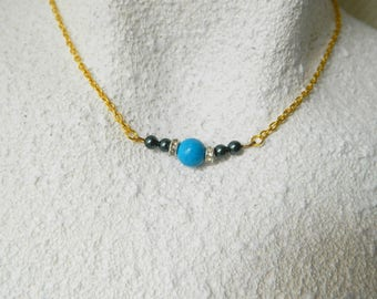 Blue swarovski crystal Pearl rhinestone round bead gold chain necklace