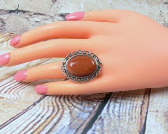 Vintage ring, gemstone ring, oval cabochon ring, Gold River cabochon ring, ring cabochon, Gold River ring, ring, gemstone oval ring