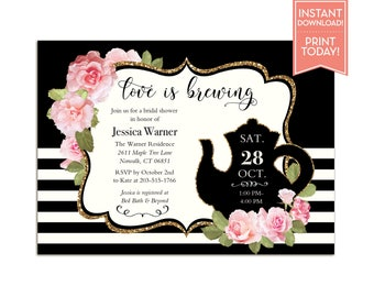 Tea Party Bridal Shower Invitations Floral Black and White