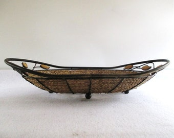 Basket, Vintage Metal, Rope, Stone Leaves, Leaf, Rustic European Mediterranean Decor Footed Serving Display Tropical Casual Entertaining