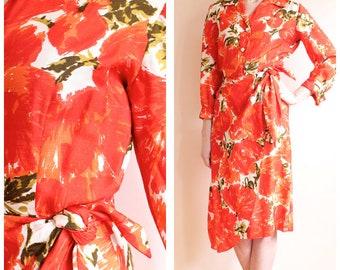 1950s Dress // Orange Blossom Silk Sarong Dress // vintage 50s dress